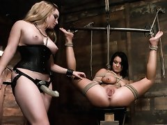 Girl in first time bondage and domination.