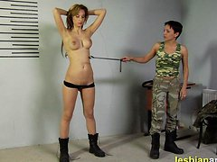 Busty lesbian army slut undressed and cropped