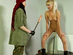 Cruel sergeant double-dildoing a lesbian soldier