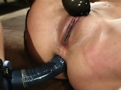 Kat takes anal pounding & continuously orgasms in bondage.