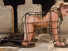 Mistress Isis Loves enjoys tormenting her bound blond sub with electricity