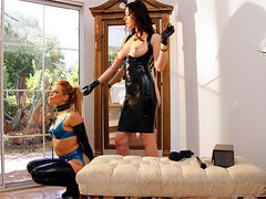 Kinky babes in tight latex having horny femdom sex